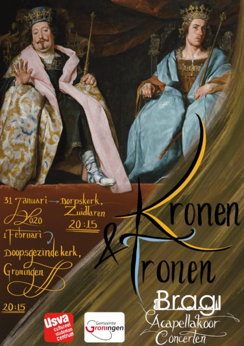 poster voor a-capellakoorconcerten getiteld Kronen & Tronen